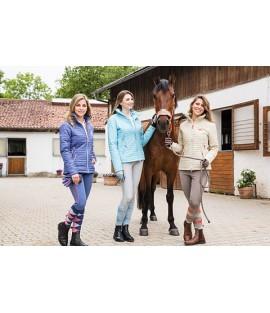 Veste d'équitation beige surpiquée COVALLIERO
