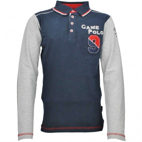 Polo manches longues marine et gris RED HORSE