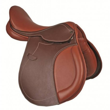 Selle d'obstacle cuir marron HKM