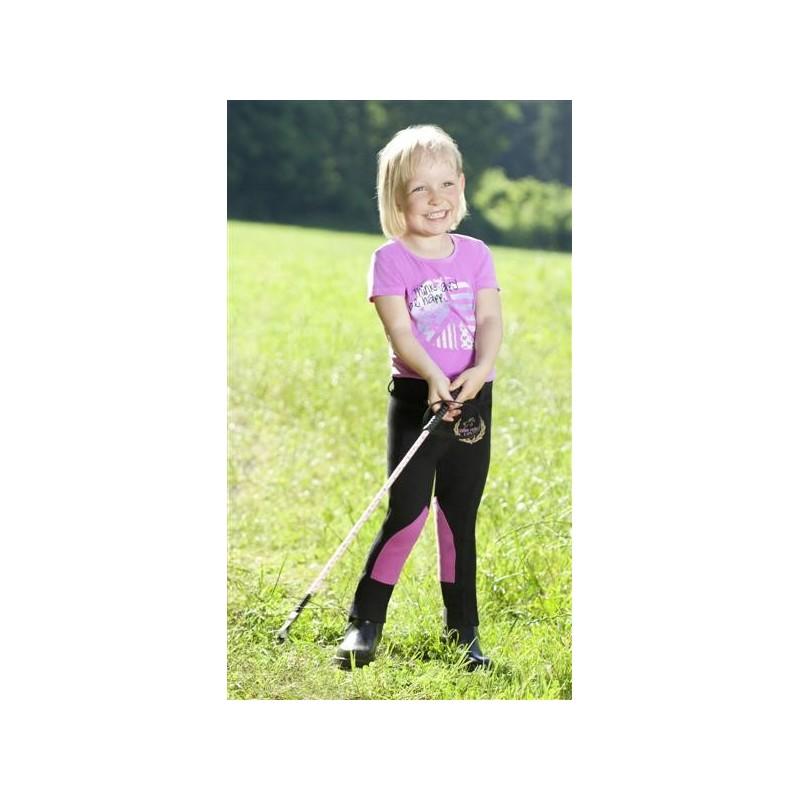 Pantalon d'équitation enfant noir et rose USG