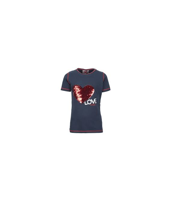 T-shirt coeur paillette marine RED HORSE