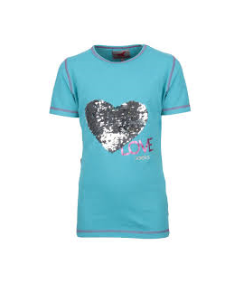 T-shirt coeur paillette turquoise RED HORSE